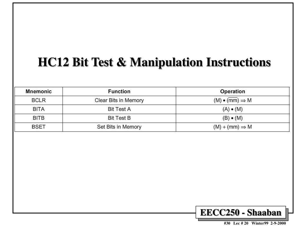 HC12 Bit Test & Manipulation Instructions