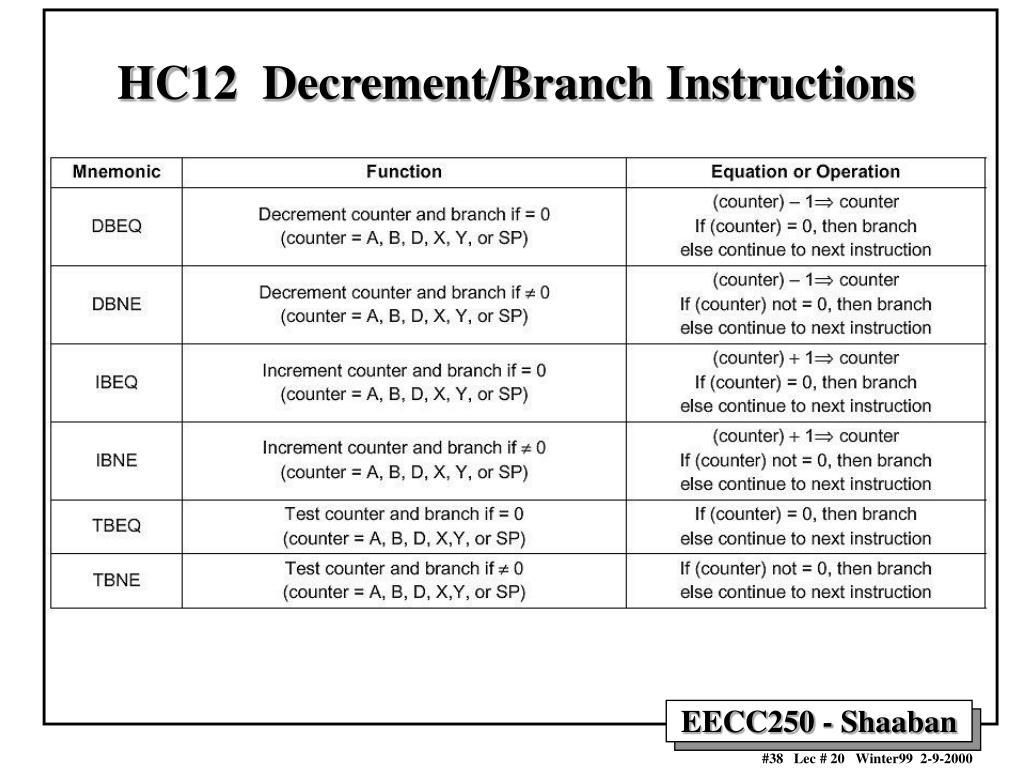 HC12  Decrement/Branch Instructions