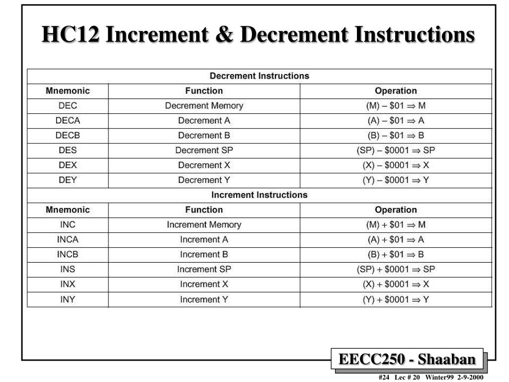 HC12 Increment & Decrement Instructions