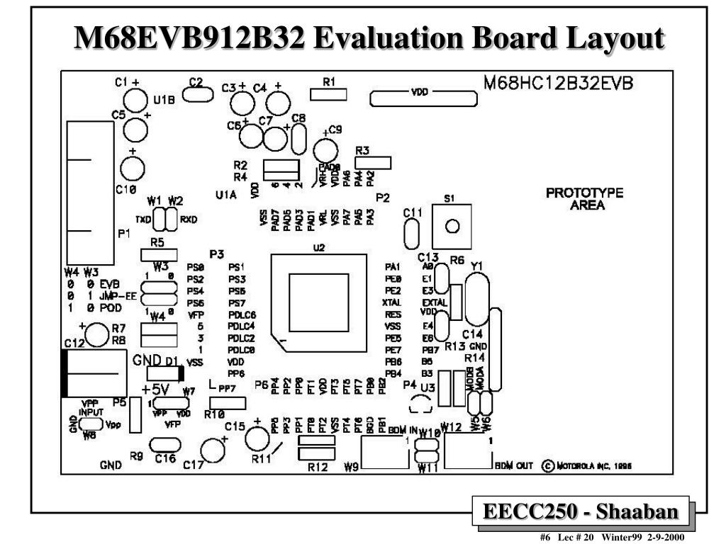 M68EVB912B32 Evaluation Board Layout