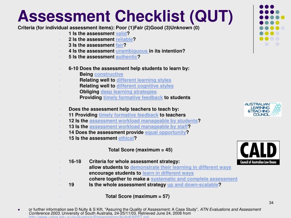 Assessment Checklist (QUT)