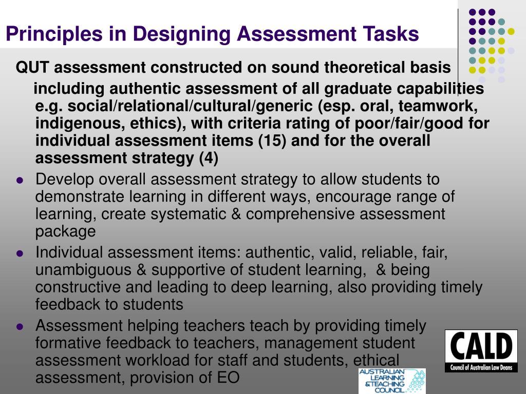 Principles in Designing Assessment Tasks