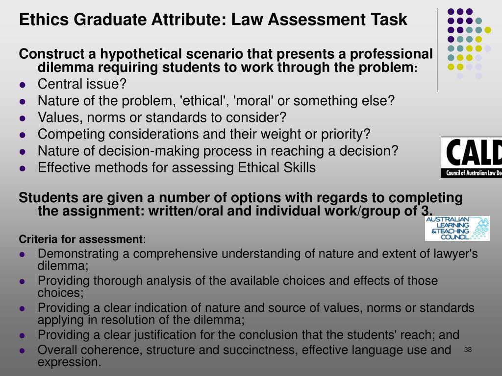 Ethics Graduate Attribute: Law Assessment Task