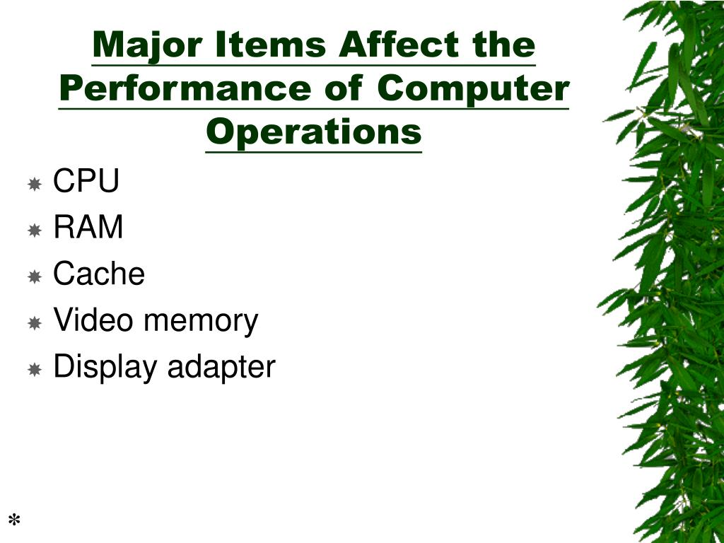 Major Items Affect the Performance of Computer Operations