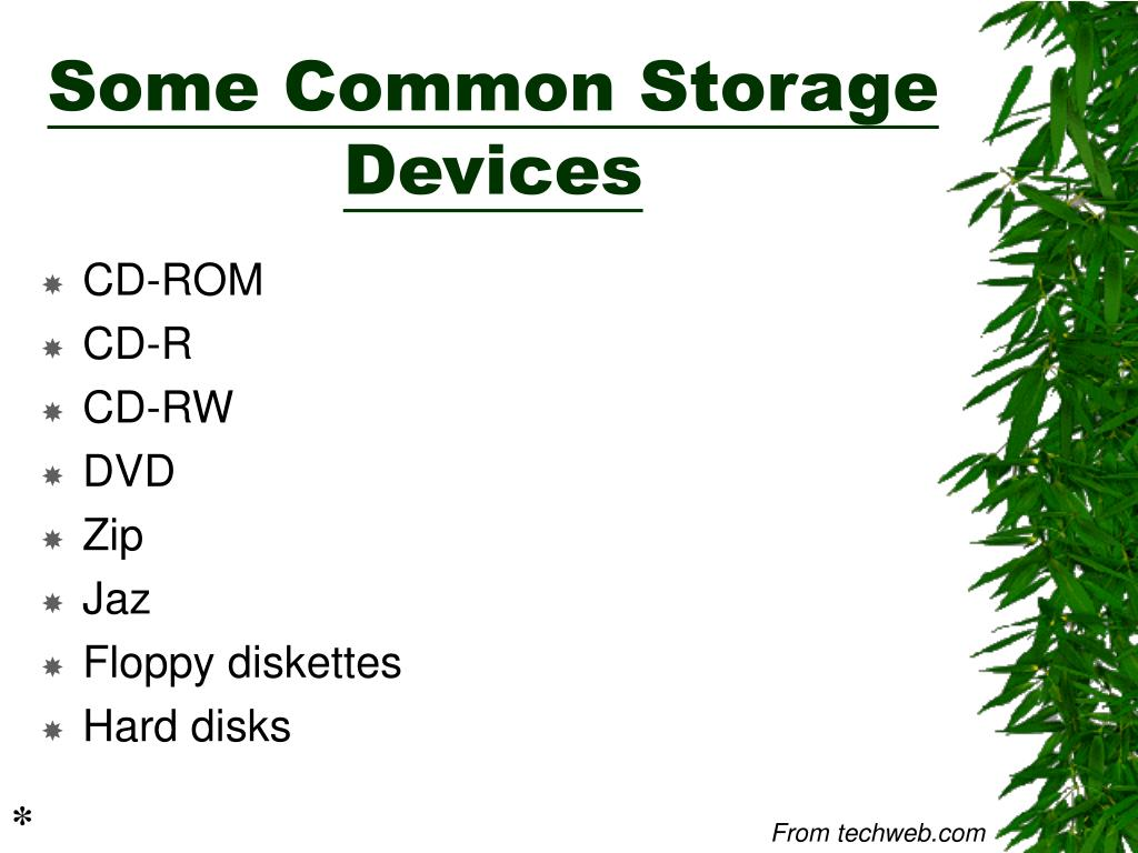 Some Common Storage Devices