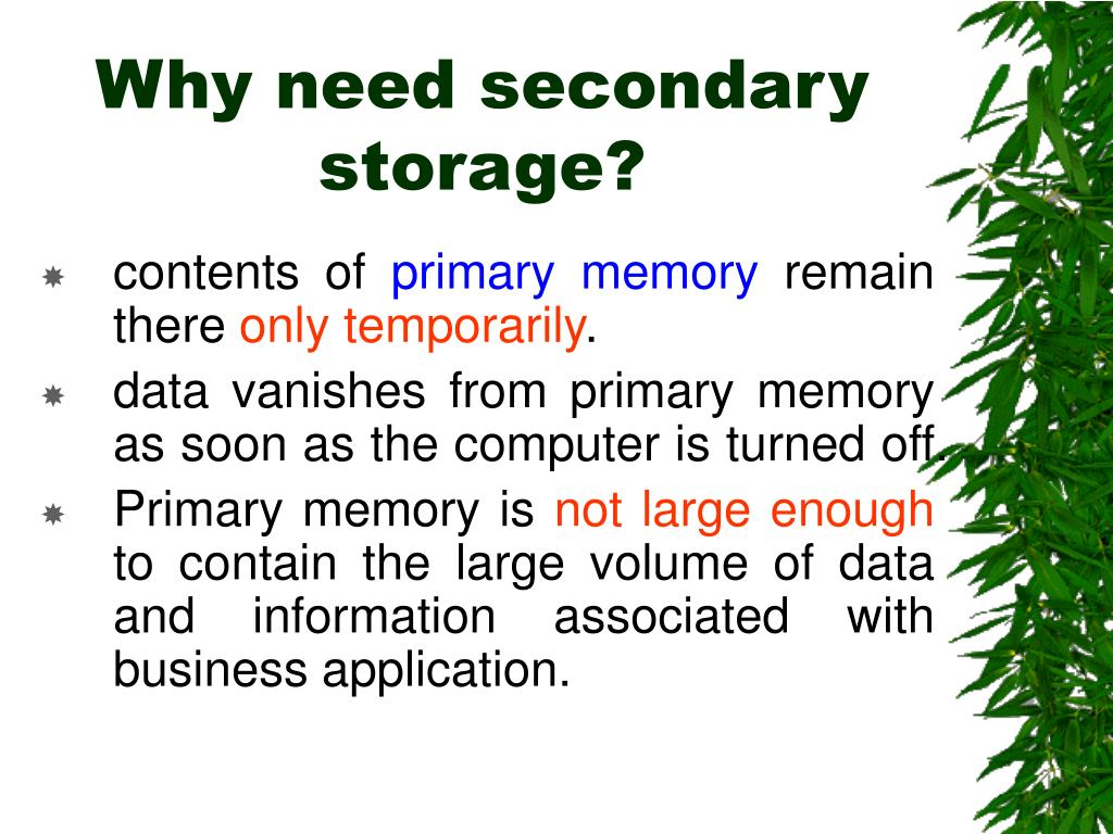 Why need secondary storage?