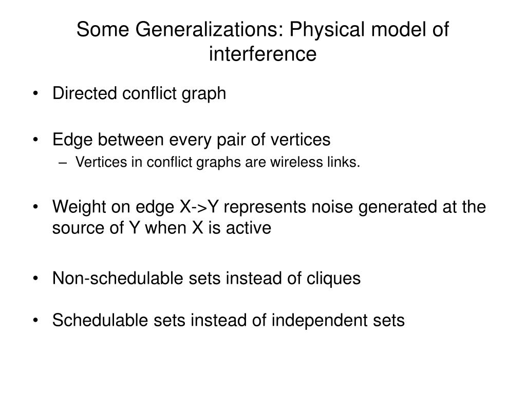Some Generalizations: Physical model of interference