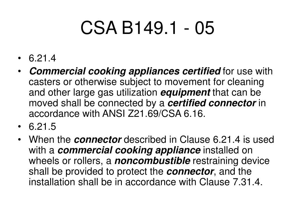 CSA B149.1 - 05