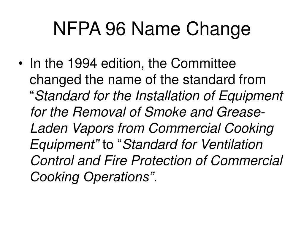 NFPA 96 Name Change