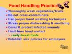 food handling practices