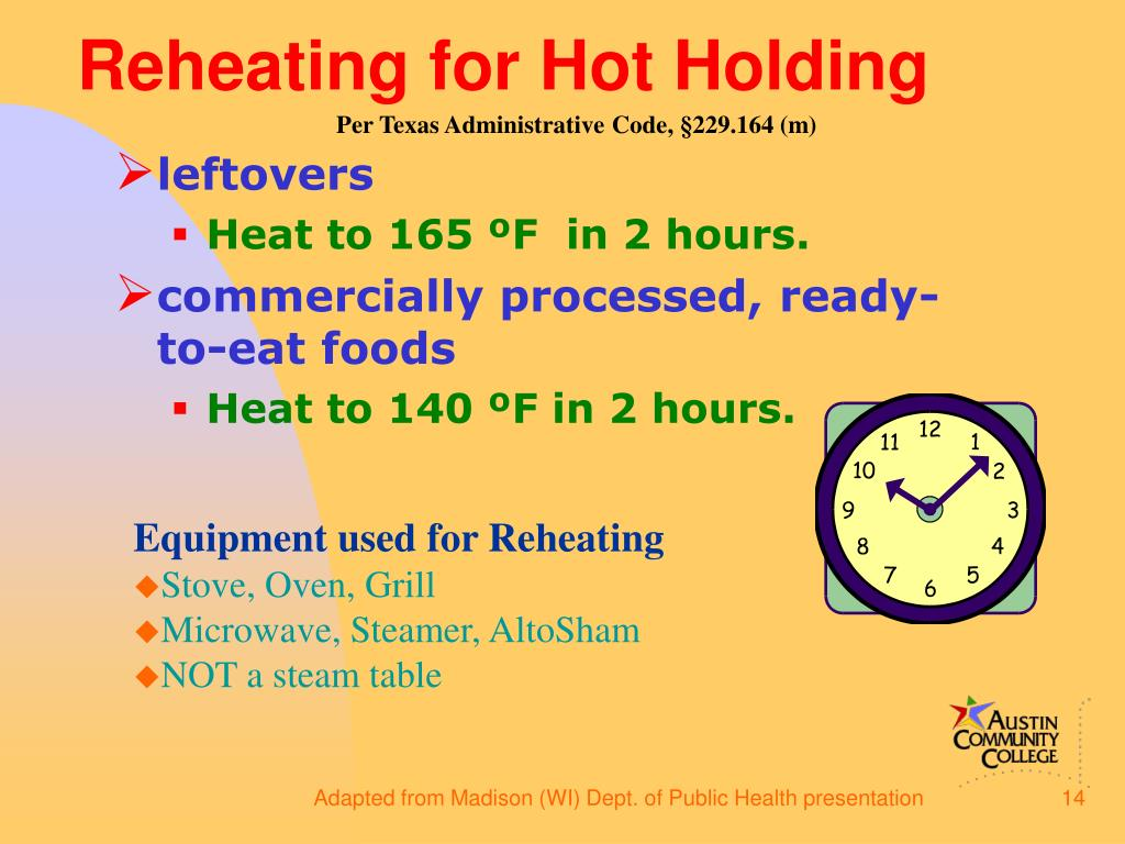 Reheating for Hot Holding