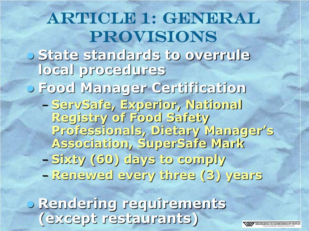 Article 1: General Provisions
