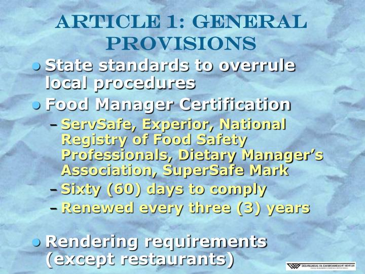 Article 1 general provisions