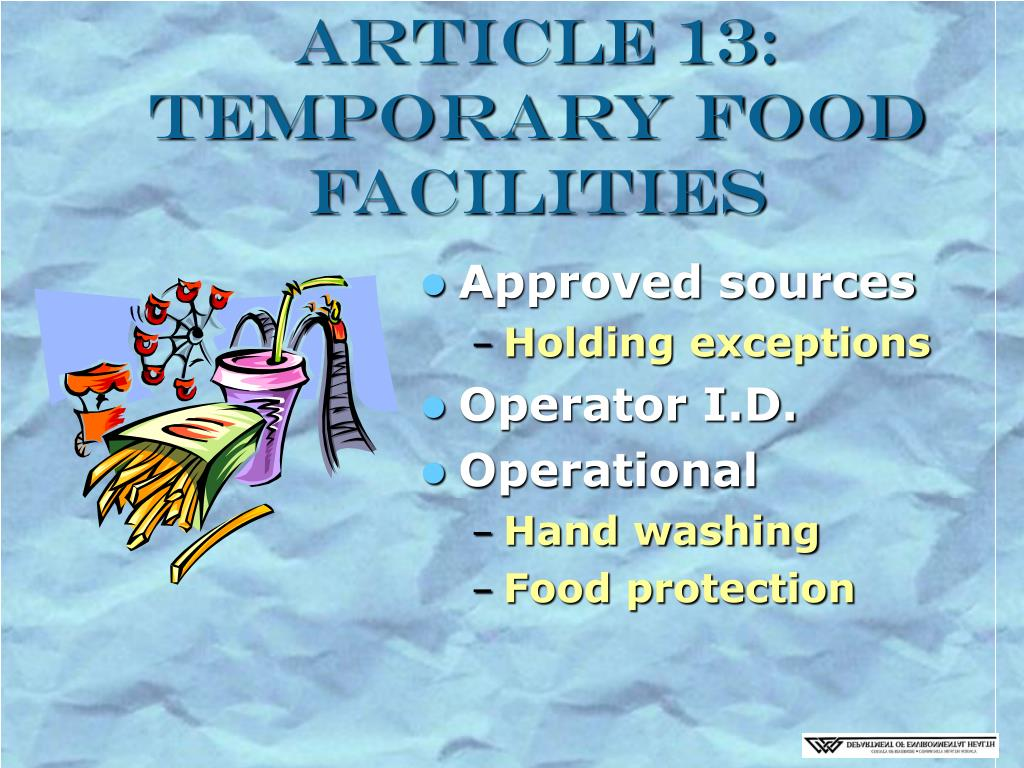 Article 13: Temporary Food Facilities