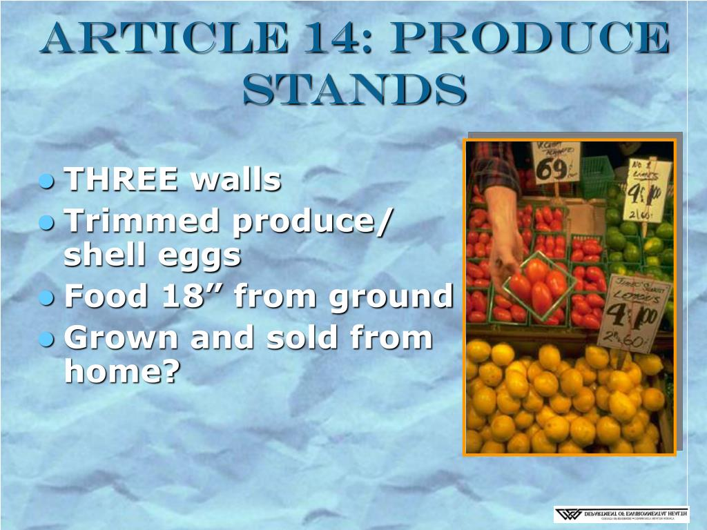 Article 14: Produce Stands