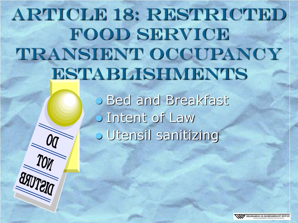 Article 18: Restricted Food Service Transient Occupancy Establishments