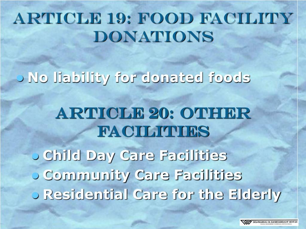 Article 19: Food Facility Donations