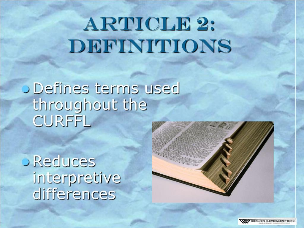 Article 2: Definitions