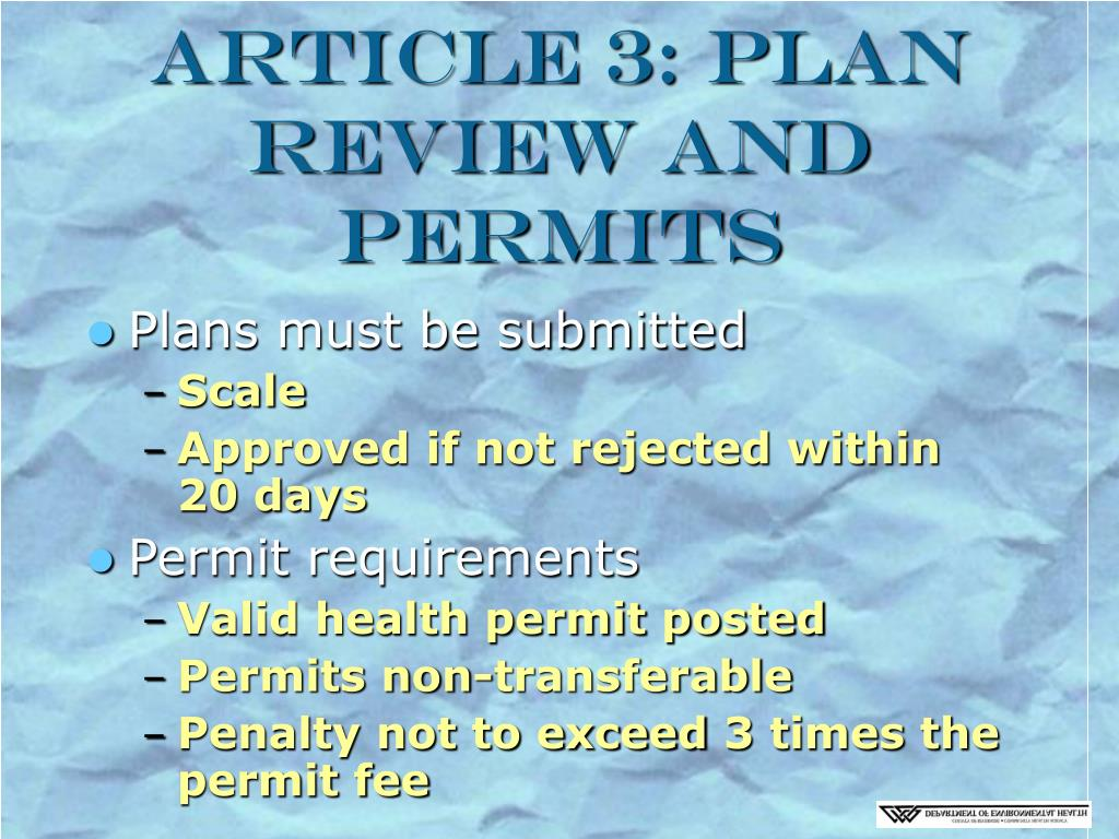 Article 3: Plan Review and Permits