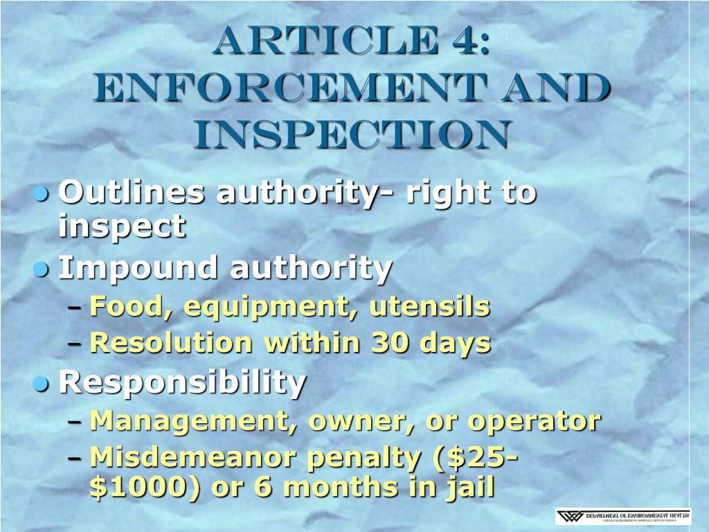 Article 4: Enforcement and Inspection