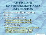 article 4 enforcement and inspection