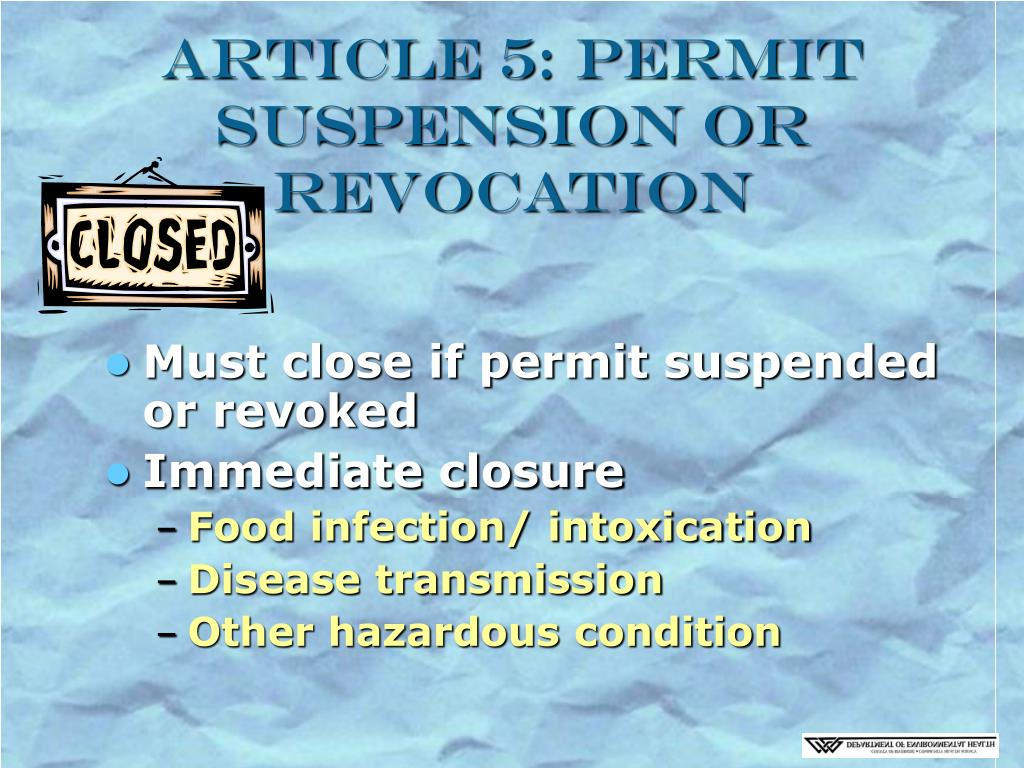 Article 5: Permit Suspension or Revocation