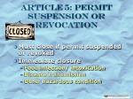 article 5 permit suspension or revocation8