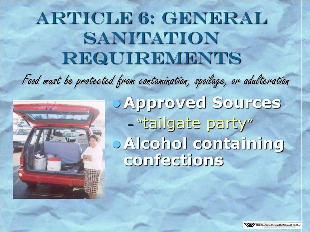 Article 6: General Sanitation Requirements