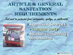 article 6 general sanitation requirements