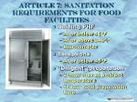 article 7 sanitation requirements for food facilities