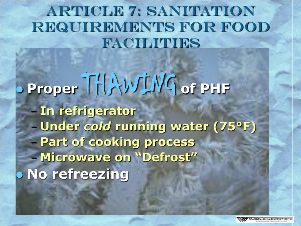 Article 7: Sanitation Requirements for Food Facilities