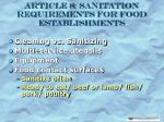 article 8 sanitation requirements for food establishments25