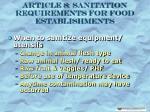 article 8 sanitation requirements for food establishments26