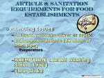article 8 sanitation requirements for food establishments28