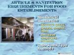 article 8 sanitation requirements for food establishments30