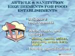 article 8 sanitation requirements for food establishments31