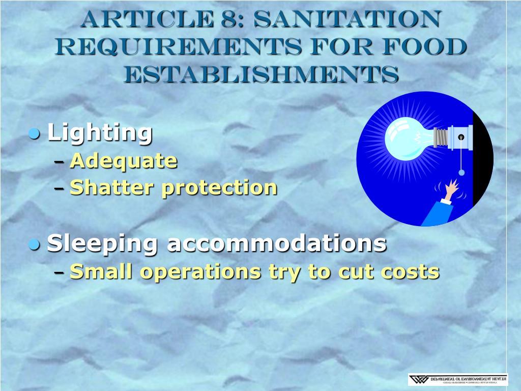 Article 8: Sanitation Requirements for Food Establishments