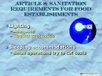 article 8 sanitation requirements for food establishments32