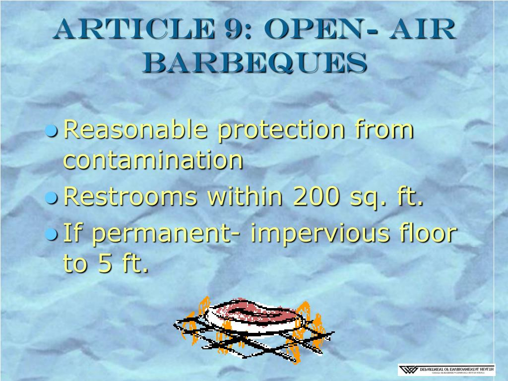 Article 9: Open- Air Barbeques