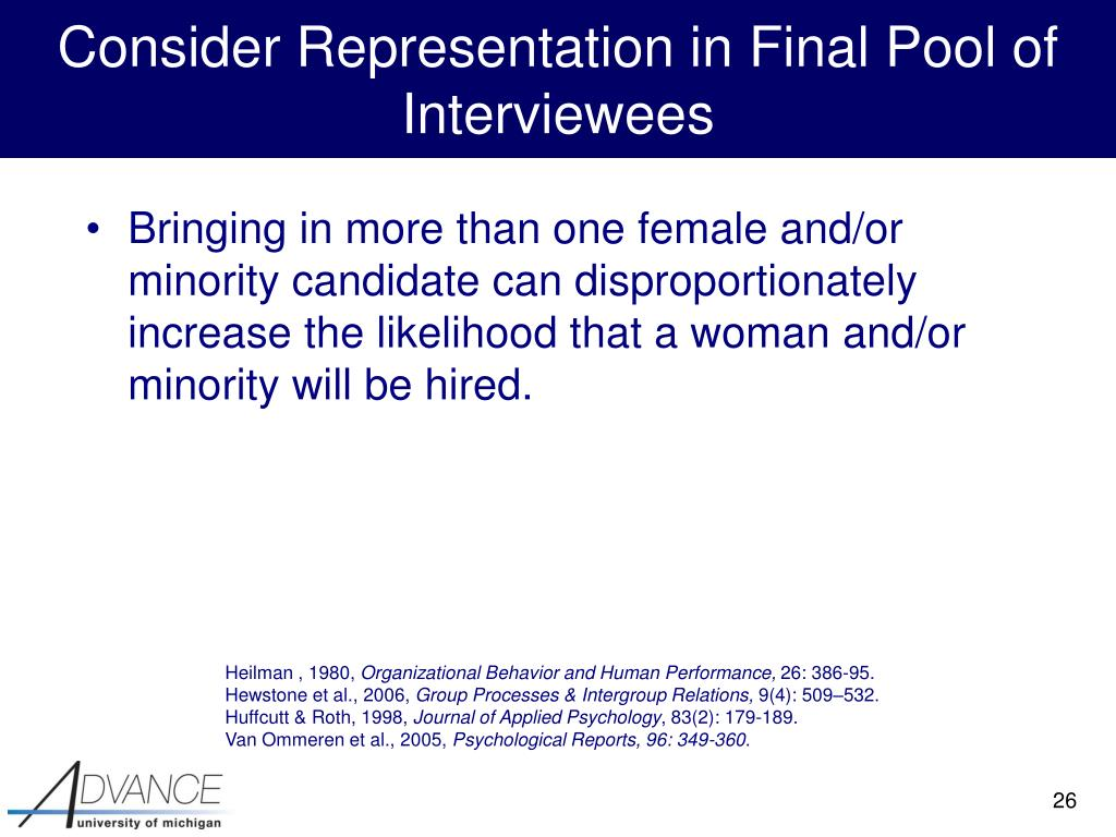 Consider Representation in Final Pool of Interviewees