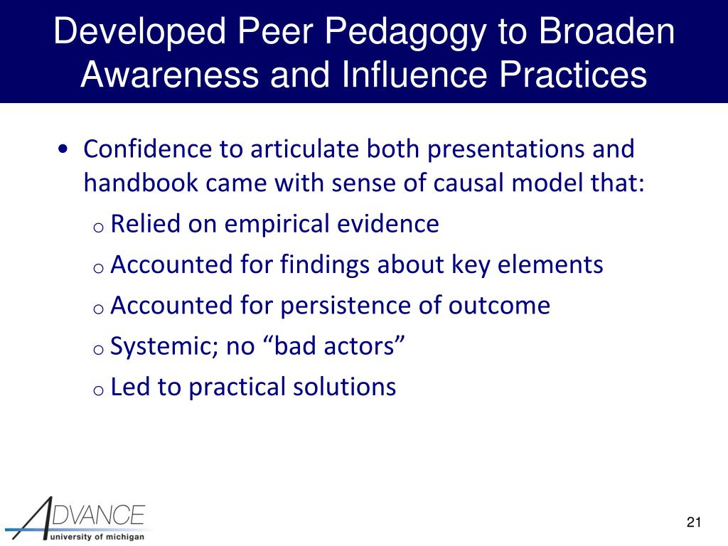 Developed Peer Pedagogy to Broaden Awareness and Influence Practices