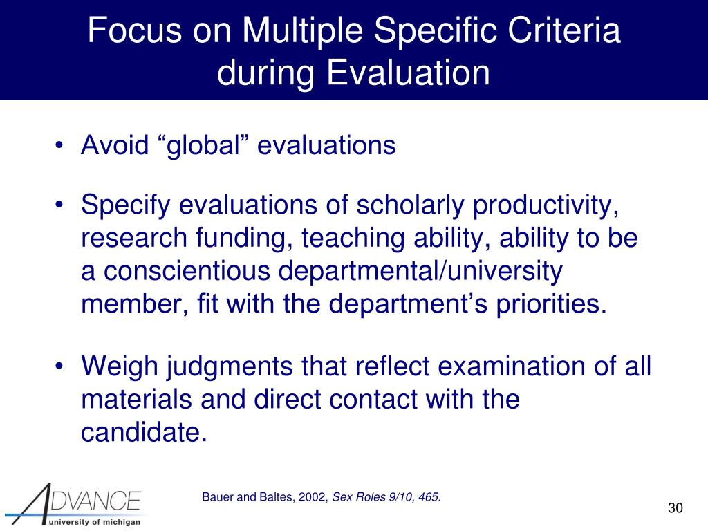 Focus on Multiple Specific Criteria
