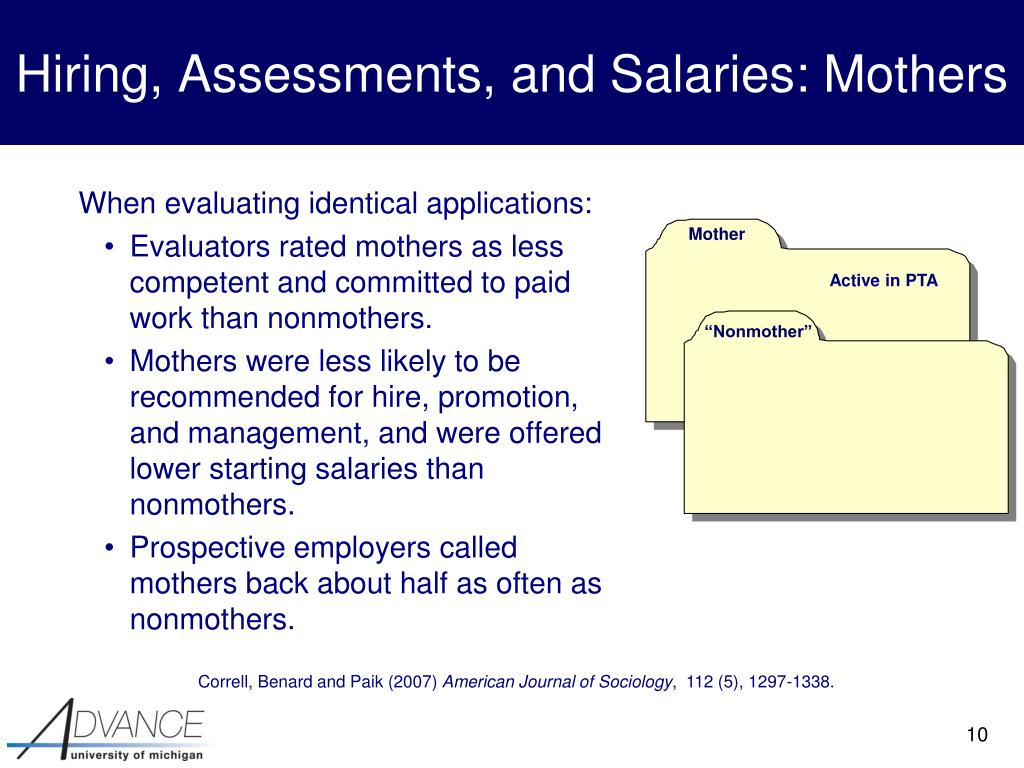 Hiring, Assessments, and Salaries: Mothers