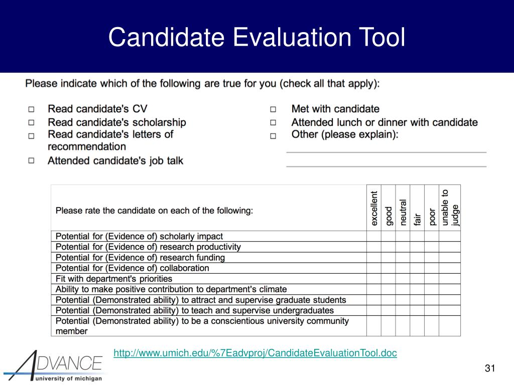 Candidate Evaluation Tool