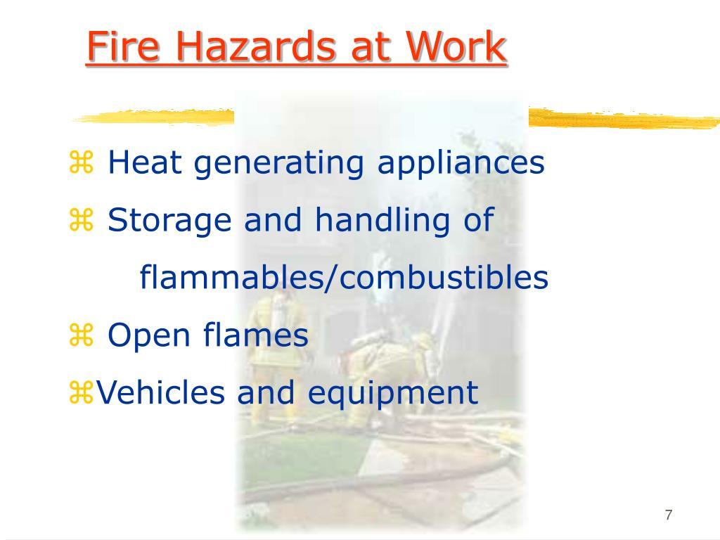 Fire Hazards at Work