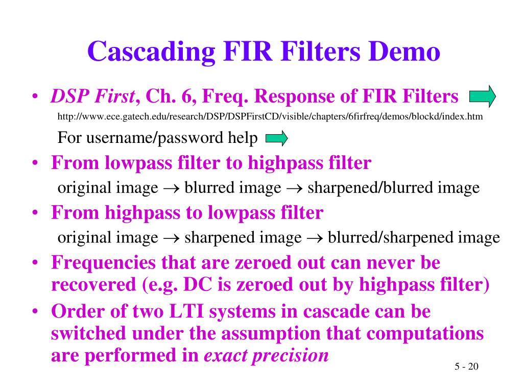 Cascading FIR Filters Demo