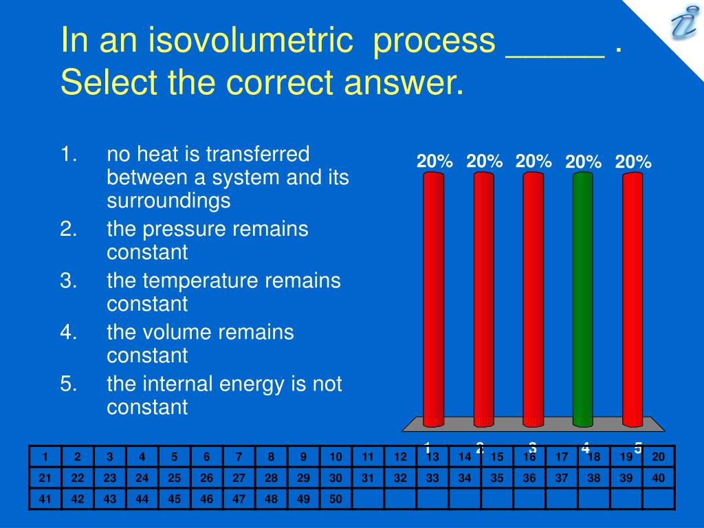 In an isovolumetric  process _____ .     Select the correct answer.