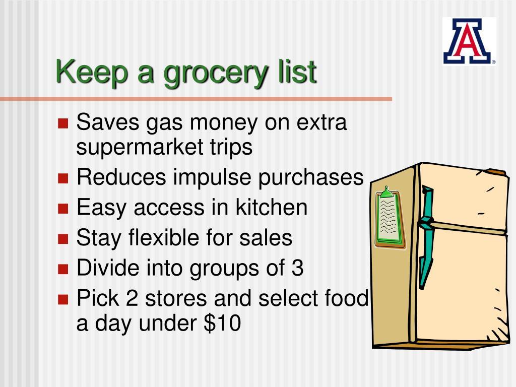 Keep a grocery list