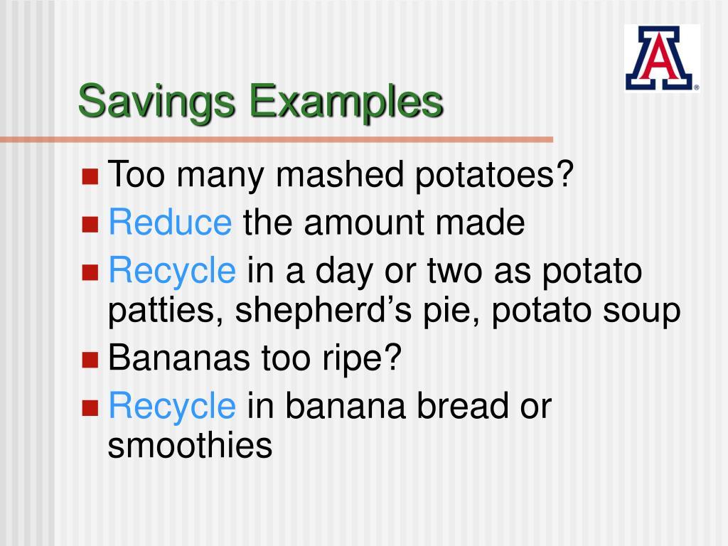 Savings Examples