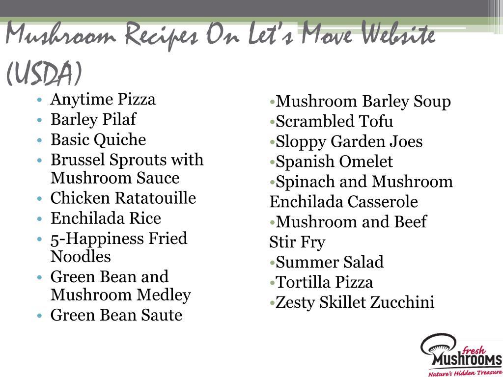 Mushroom Recipes On Let's Move Website (USDA)